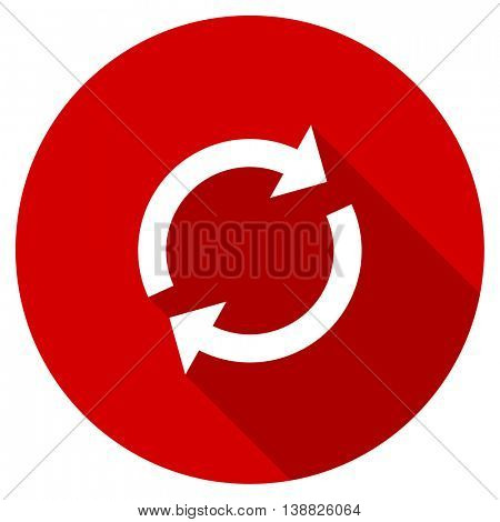 reload vector icon, red modern flat design web element