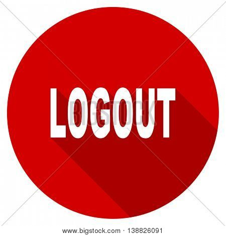 logout vector icon, red modern flat design web element