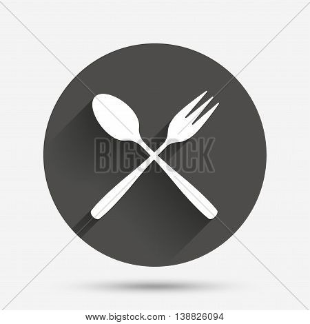 Eat sign icon. Cutlery symbol. Dessert fork and teaspoon crosswise. Circle flat button with shadow. Vector