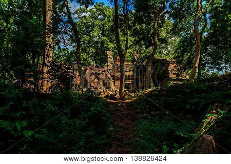 The sun illuminates crumbling Khmer ruins in the jungle of Cambodia