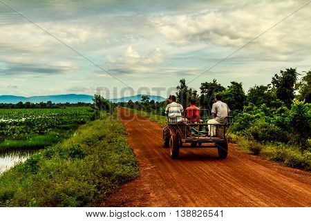Farmers on a causeway in green rural Cambodia