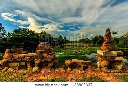 An ancient moat surrounding Khmer ruins in Cambodia