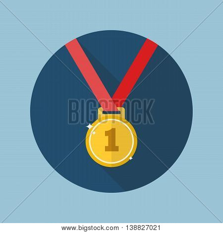 Golden medal flat icon with long shadow