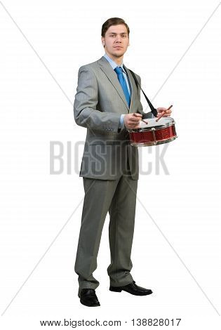 Funny businessman playing drums isolated on white background