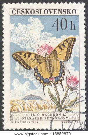 MOSCOW RUSSIA - CIRCA JANUARY 2016: a post stamp printed in CZECHOSLOVAKIA shows a butterfly with the inscription