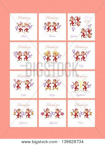 Set of cute zodiac signs. Twelve cards with cartoon monkeys on white background. Can be used for chocolate package.