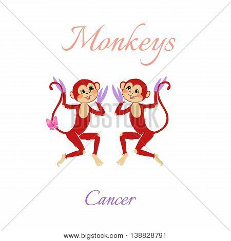 Funny Horoscope With Cute Monkeys. Zodiac Signs. Cancer. Vector Illustration.