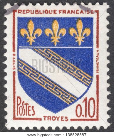 MOSCOW RUSSIA - CIRCA JANUARY 2016: a post stamp printed in FRANCE shows Arms of Troyes circa 1963