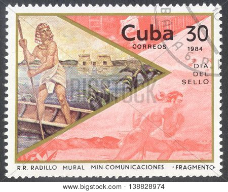 MOSCOW RUSSIA - CIRCA JANUARY 2016: a post stamp printed in CUBA shows the painting