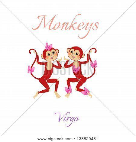 Funny Horoscope With Cute Monkeys. Zodiac Signs. Virgo. Vector Illustration.