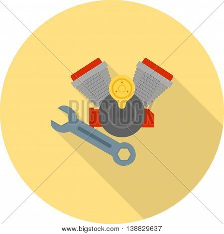 Engine, repair, parts icon vector image. Can also be used for car servicing. Suitable for use on web apps, mobile apps and print media.