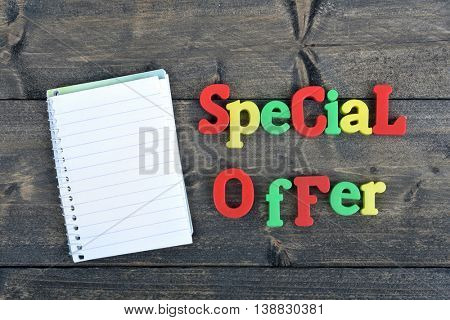 Special offer word on wooden table