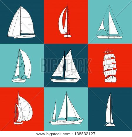 Set of 9 boats with sails made in vector. Sport yacht, sailboat. Contour drawing