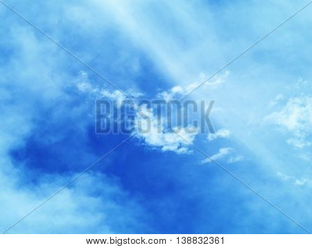 blue sky with Stratus Stratocumulus and Cumulus clouds