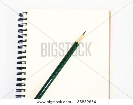 green pencil on a plain ring binder notebook, top view