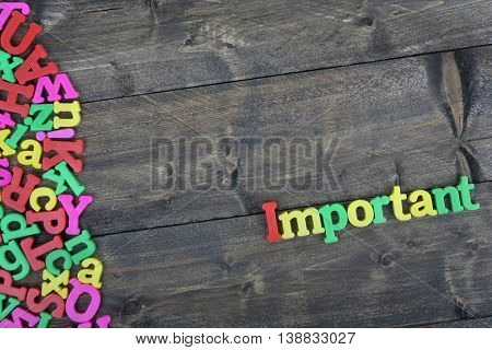 Important word on wooden table