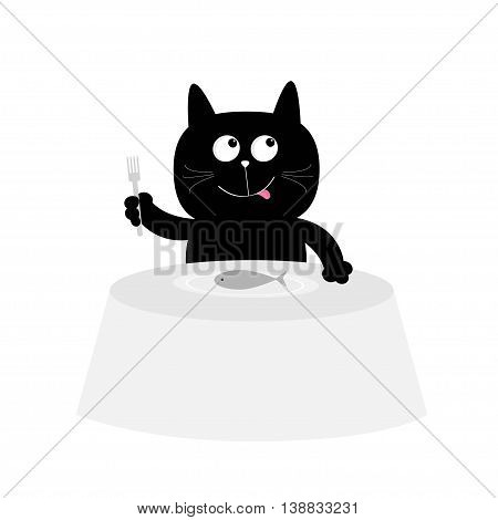 Cat eats fish. Cute cartoon character. Plate fork table. Restaurant menu. Happy black kitten with tongue. Flat design. White background. Isolated. Vector illustration