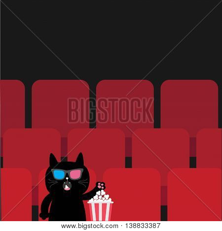 Cat in 3D glasses sitting in movie theater eating popcorn. Cute cartoon character. Film show Cinema background. Viewer watching movie. Red seats hall. Dark background. Flat design Vector illustration