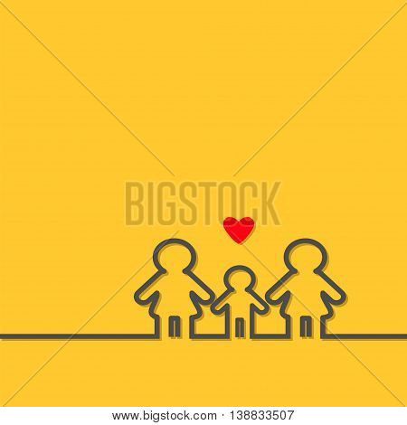 Two mothers and baby boy son. Gay lesbian marriage Pride symbol Contour line woman sign LGBT icon Female gender symbol. Happy family concept. Red heart Yellow background. Flat Vector illustration