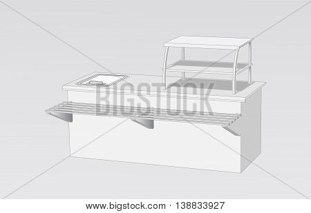Buffet for the tray and food gray on a white background Isometric