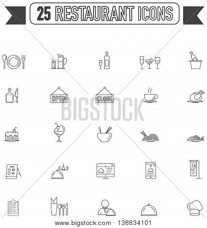 Flat line silhouette food beverage and restaurant graphic sign and symbol icon collection set create by vector