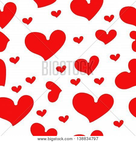 Red hearts on white- seamless vector pattern