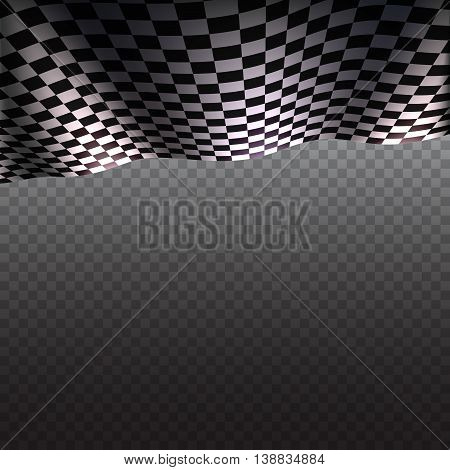 Checkered flag on transparent background, sports flag of black and white squares with place for promotional information. Vector template for your design