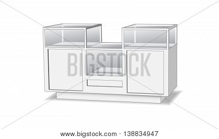 Countertop with glass shelves gray on a white background Isometric