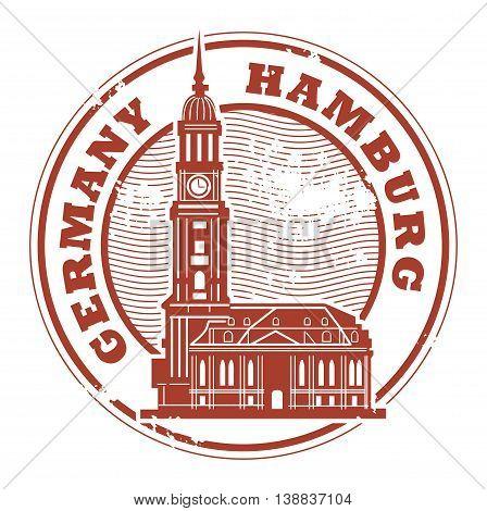 Grunge rubber stamp with words Hamburg, Germany inside, vector illustration