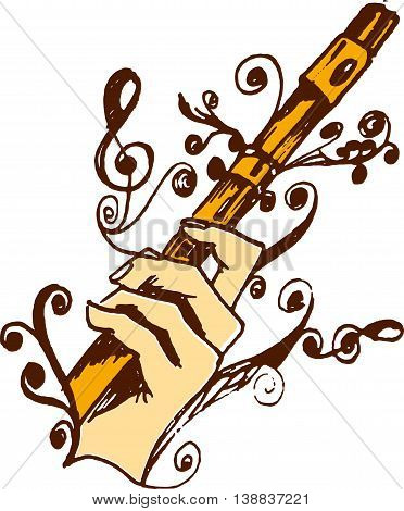 Musical Instrument. Flute in hand with treble clef.