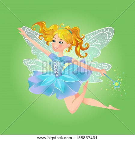 Illustration of cute kind cheerful fairy with a magic wand