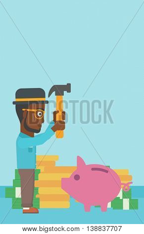 An african-american businessman breaking piggy bank on a blue background with stacks of coins. Concept of business bankruptcy. Vector flat design illustration. Vertical layout.