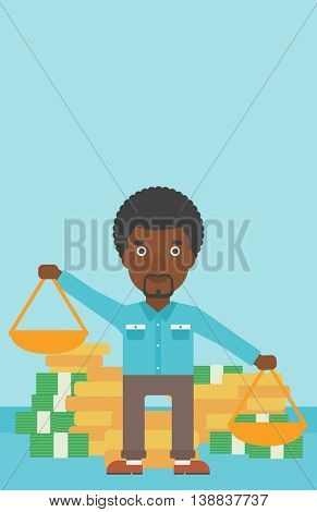 An african-american businessman holding scales in hands on a blue background with stacks of coins. Vector flat design illustration. Vertical layout.