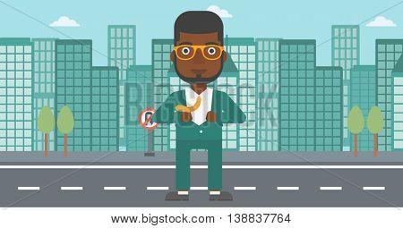 An african-american businessman opening his jacket like superhero on the background of modern city. Businessman superhero. Vector flat design illustration. Horizontal layout.