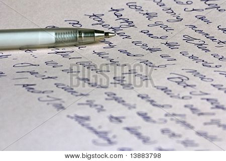 Handwritten Love Letter And Pen