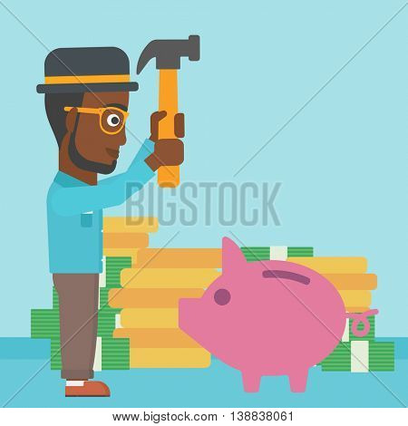 An african-american businessman breaking piggy bank on a blue background with stacks of coins. Concept of business bankruptcy. Vector flat design illustration. Square layout.