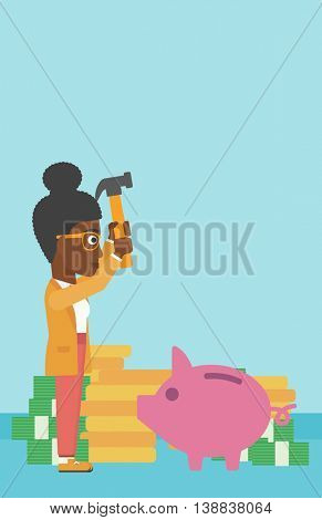 An african-american business woman breaking piggy bank on a blue background with stacks of coins. Concept of business bankruptcy. Vector flat design illustration. Vertical layout.