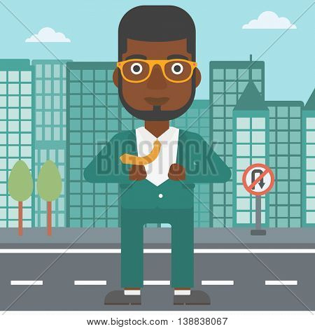 An african-american businessman opening his jacket like superhero on the background of modern city. Businessman superhero. Vector flat design illustration. Square layout.