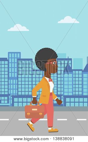An african-american business woman walking with a briefcase. Business woman walking down the street. Vector flat design illustration. Vertical layout.