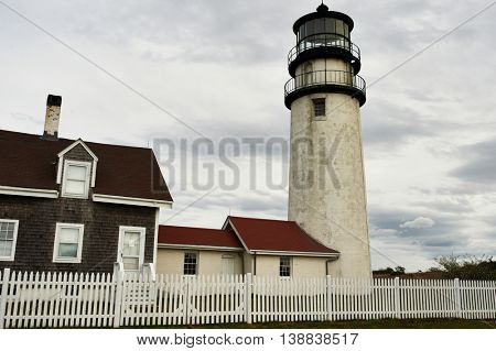 Highland Lighthouse, oldest and tallest on Cape Cod, built in 1797, North Truro, Massachusetts, USA.