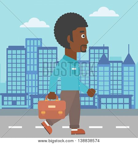 An african-american businessman walking with a briefcase. Businessman walking down the street. Vector flat design illustration. Square layout.