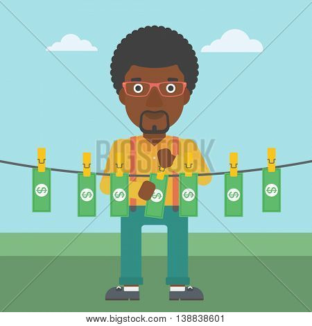 An african-american businessman drying banknotes on the clothesline on the background of blue sky. Man loundering money. Vector flat design illustration. Square layout.