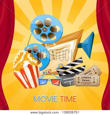 Movie time cinema old projector tickets pop corn and 3d glasses vector cartoon