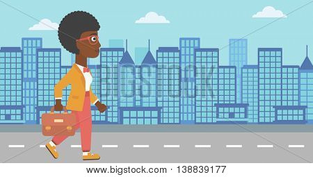 An african-american business woman walking with a briefcase. Business woman walking down the street. Vector flat design illustration. Horizontal layout.