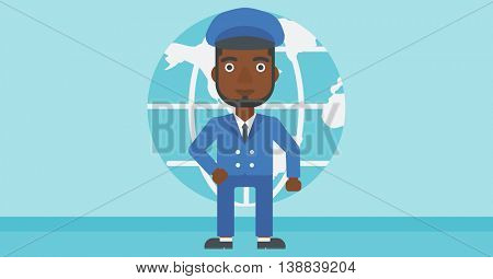 An african-american businessman standing on background of Earth globe. Business man taking part in global business. Global business concept. Vector flat design illustration. Horizontal layout.