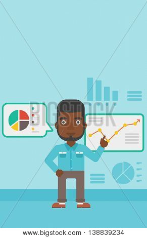 An african-american businessman pointing at charts on a board during business presentation. Man giving a business presentation. Vector flat design illustration. Vertical layout.