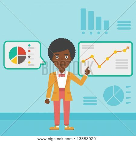 An african-american business woman pointing at charts on a board during business presentation. Woman giving a business presentation. Vector flat design illustration. Square layout.