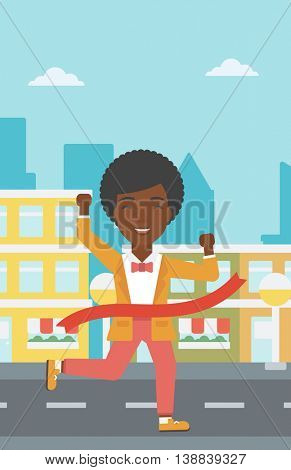 An african-american successful business woman running at the finish line. Business woman crossing finish line. Concept of business success. Vector flat design illustration. Vertical layout.