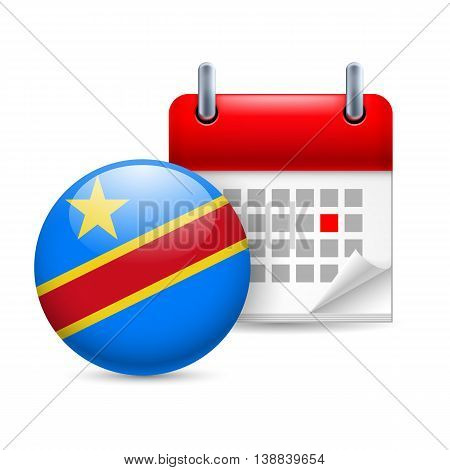 Calendar and round flag icon. National holiday in Democratic Republic of the Congo
