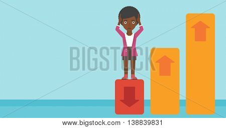An african-american business woman clutching her head. Bankrupt standing on chart going down. Concept of business bankruptcy. Vector flat design illustration. Horizontal layout.